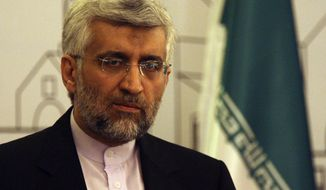 ** FILE ** Saeed Jalili, Iran's chief nuclear negotiator, speaks to the media after negotiations with the United States and five other world powers in Baghdad on Thursday, May 24, 2012. (AP Photo/Khalid Mohammed)