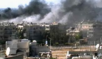 This image taken from amateur video and broadcast by Bambuser/Homslive shows a series of devastating explosions rocking the central Syrian city of Homs on Monday, June 11, 2012. Live streaming video caught the devastation during one of the heaviest examples of violence since the uprisings began over a year ago. (Photo/Bambuser/Homslive via AP Video)