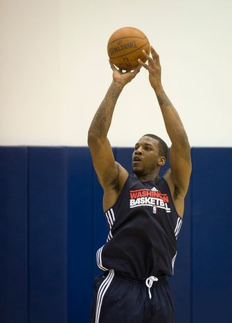 Thomas Robinson, a forward from Kansas takes a shot at the Washington Wizards workout at  Verizon Center in Washington, D.C., on Wednesday, June 13, 2012. (Rod Lamkey Jr/The Washington Times)
