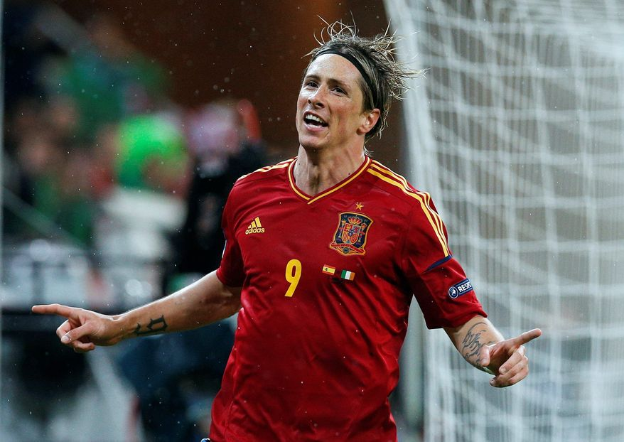 =Fernando Torres scored in the fourth and 70th minutes of Spain's 4-0 victory over Ireland in a Euro 2012 Group C match in Gdansk, Poland. Spain played to a 1-1 draw with Italy in its first match. (Associated Press)