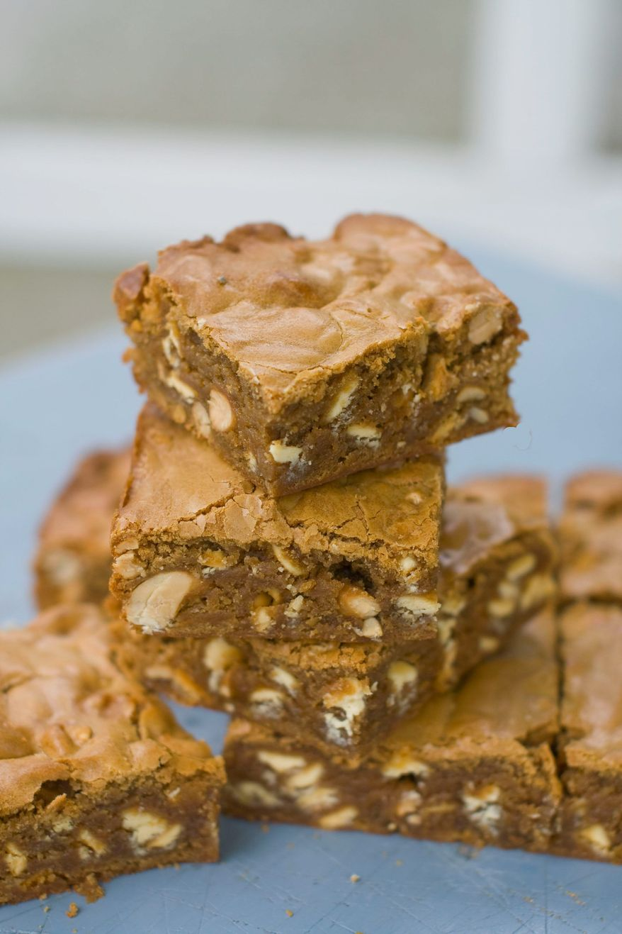 Chocolate, coffee and nuts combine to form a blondie that is full of flavor and texture. Dad is sure to savor every bite. (Associated Press)