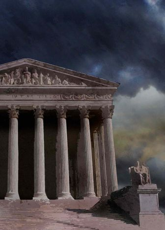 Illustration Supreme Court by Greg Groesch for The Washington Times