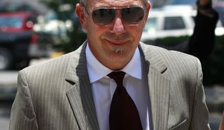 Kevin Costner arrives June 14, 2012, at a federal courthouse in New Orleans for the trial for Stephen Baldwin's lawsuit against Costner over their multimillion dollar business dispute in the aftermath of the 2010 oil spill in the Gulf of Mexico. The lawsuit accuses Costner and Smith of duping Baldwin and friend Spyridon Contogouris over their investments in an oil cleanup device that BP used after the spill. (Associated Press)