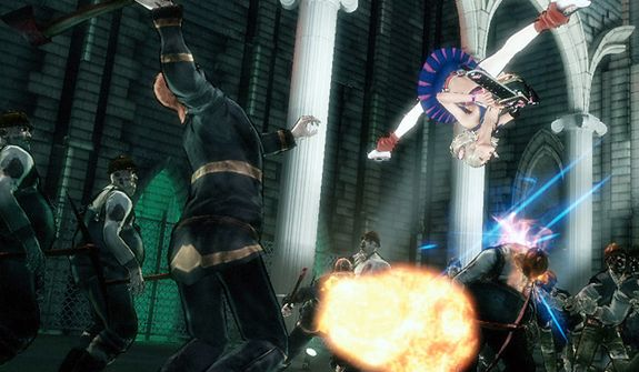 Juliet Starling flips over her zombie aggressors in the video game Lollipop Chainsaw.