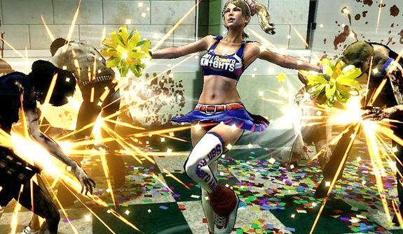 Pom-poms take on a new level of functionality in the video game Lollipop Chainsaw.