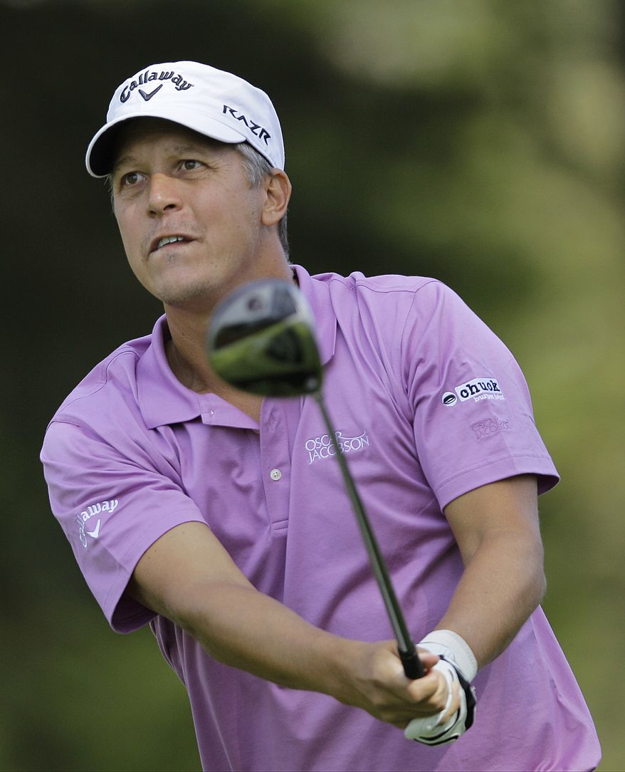 Fredrik Jacobson hits a drive on the 12th hole during the third round of the U.S. Open Championship on Saturday, June 16, 2012, at The Olympic Club in San Francisco. (AP Photo/Eric Risberg)