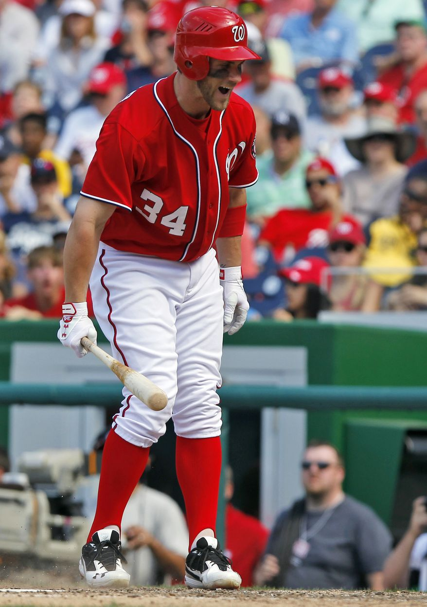 Washington Nationals' Bryce Harper had his worst day as a big leaguer Saturday against the New York Yankees, going 0-for-7 with five strikeouts in his team's 5-3 extra-innings loss. (AP Photo/Alex Brandon)