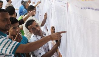 Egyptian voters look for their names on lists at a polling center during the second day of the presidential runoff, in Cairo, Egypt, Sunday, June 17, 2012. Egyptians are choosing between a conservative Islamist and Hosni Mubarak's ex-prime minister in a second day of a presidential runoff that has been overshadowed by the domination of the country's military. (AP Photo/Amr Nabil)
