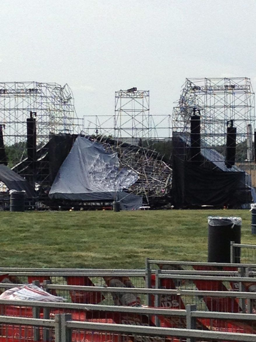 The collapse of a stage hours before a Radiohead concert in a park in Toronto on Saturday killed a sound technician for the rock band. (Associated Press)