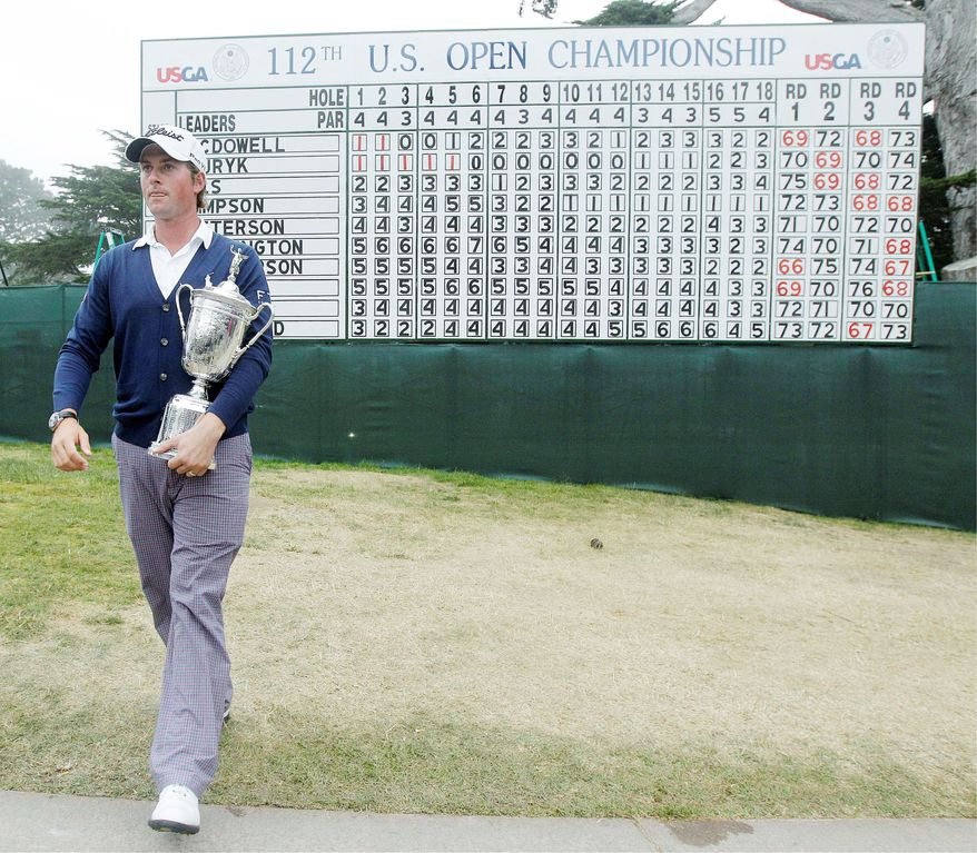 Webb Simpson secured the U.S. Open championship trophy in just his fifth major tournament and second Open. His friend, Bubba Watson, won the Masters with the help of an improbable hook shot in the playoff. (Associated Press)
