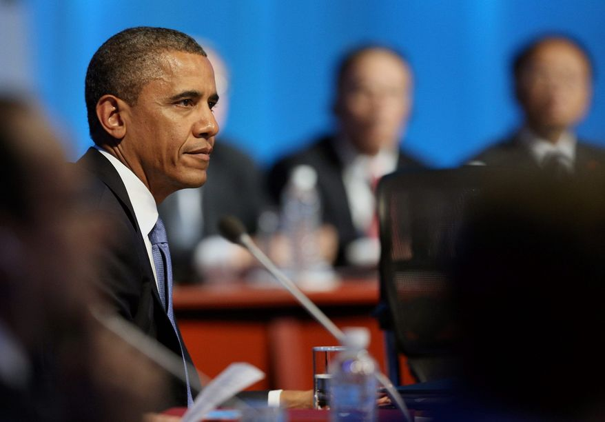 President Obama attends a G-20 summit session in Los Cabos, Mexico, on Monday. (Associated Press)