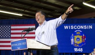 Republican presidential candidate and former Massachusetts Gov. Mitt Romney speaks June 18, 2012, during a campaign event at Monterey Mills in Janesville, Wis. (Associated Press)