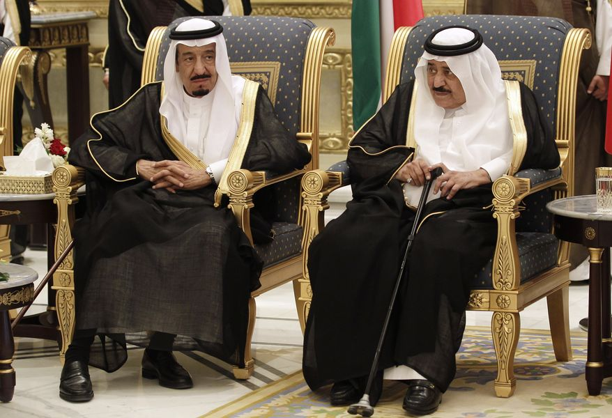 ** FILE ** Saudi Crown Prince Nayef bin Abdul-Aziz (right), who died on Saturday, June 16, 2012, and his brother Prince Salman bin Abdul-Aziz attend a welcoming ceremony for Gulf Arab leaders as they arrive in the Saudi capital, Riyadh, for a Gulf Cooperation Council summit on Monday, May 14, 2012. Prince Salman has been named crown prince. (AP Photo/Hassan Ammar)