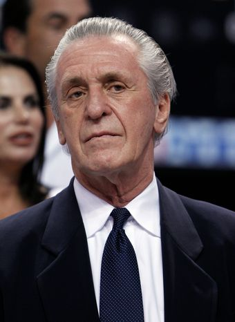 Pat Riley's NBA resume includes 1,210 wins and 21 playoff appearances with the Lakers, Knicks and Heat. (Associated Press)