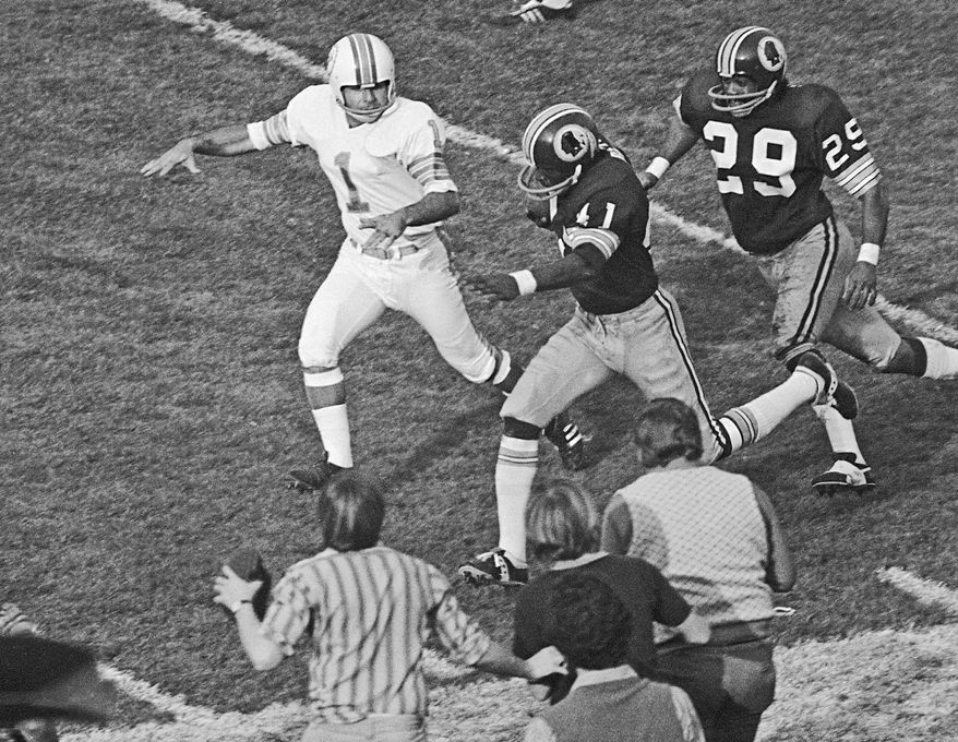 Mike Bass had the only Redskins' score in Super Bowl VII, and it came on a fumble recovery. (Associated Press)