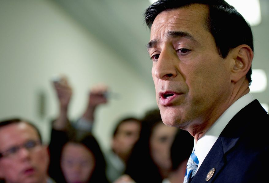 "** FILE ** Rep. Darrell E. Issa tells the media that Attorney General Eric H. Holder Jr. must provide Congress with the requested documents in the ""Fast and Furious"" probe in this June 20, 2012, file photo. (Barbara L. Salisbury/The Washington Times)"