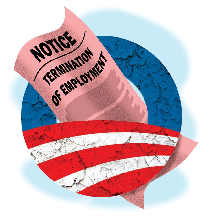 Illustration Obama's Jobs by Alexander Hunter for The Washington Times