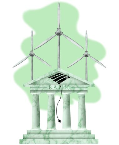 Illustration BOA's Green Energy by Alexander Hunter for The Washington Times