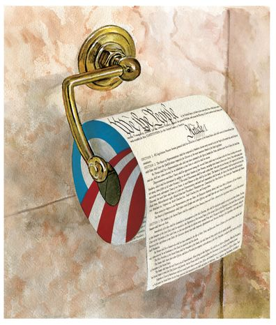 Illustration Constitutional Toilet Paper by Alexander Hunter for The Washington Times