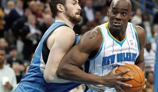 Emeka Okafor (right), the NBA Rookie of the Year in 2005, averages 12.7 points and 7.9 rebounds in his career. He has $28 million remaining on a contract that runs through 2014. (Associated Press)
