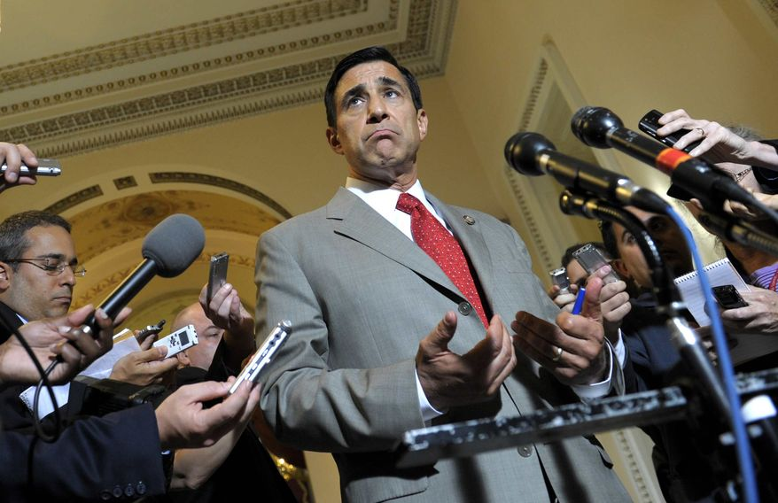 Rep. Darrell Issa, R-Calif., speaks to reporters following his meeting with Attorney General Eric Holder on Capitol Hill in Washington, Tuesday, June 19, 2012. (AP Photo/Susan Walsh)
