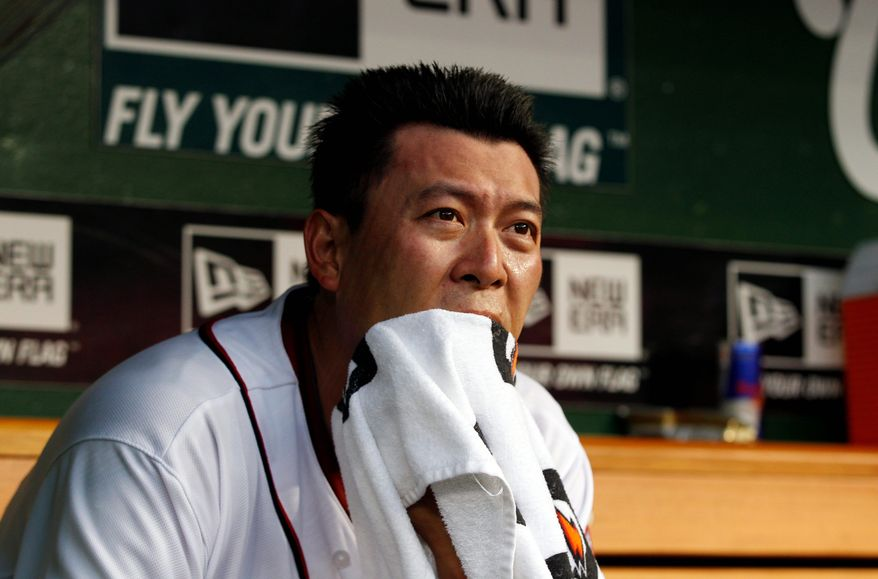 Nationals right-hander Chien-Ming Wang has a 6.62 ERA in his four starts. In five appearances overall, he's 2-3 with a 6.10 ERA. He was demoted to the bullpen after Tuesday's rocky outing against Tampa Bay. (Associated Press)