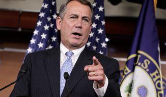 House Speaker John A. Boehner, Ohio Republican (Associated Press)