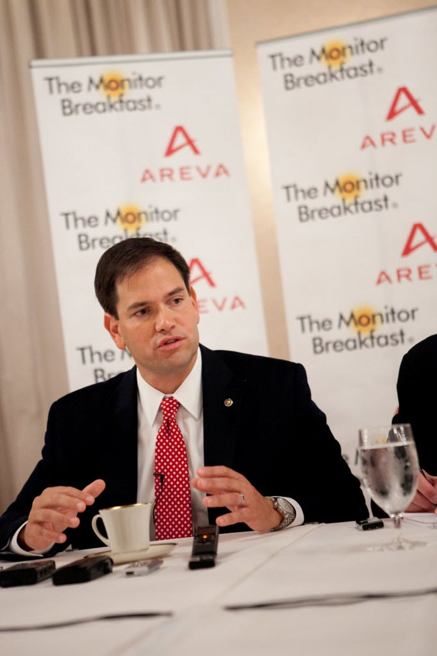 Florida Sen. Marco Rubio speaks June 21, 2012, to reporters at a breakfast hosted by the Christian Science Monitor. (Michael Bonfigli/Christian Science Monitor)