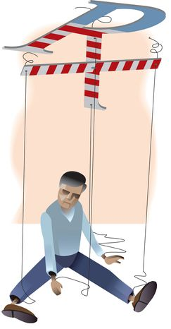 Illustration Obamacare Marionette  by Linas Garsys for The Washington Times