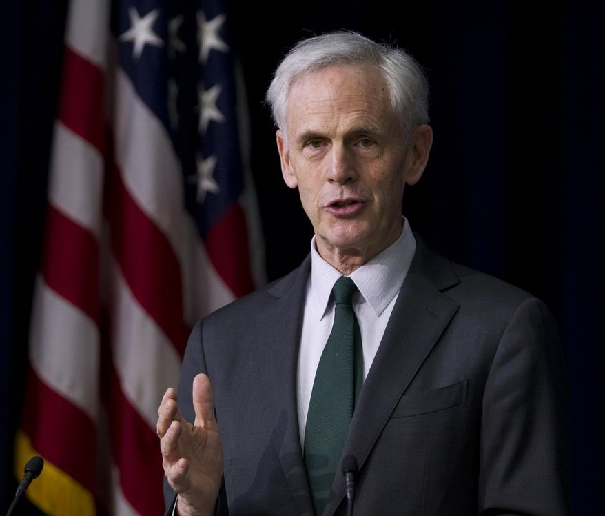 **FILE** Secretary of Commerce John Bryson speaks Feb. 23, 2012, about privacy at the Eisenhower Executive Office Building in Washington. (Associated Press)