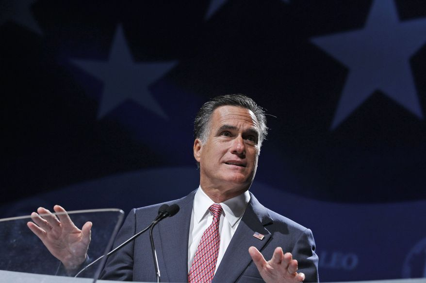 Republican presidential candidate and former Massachusetts Gov. Mitt Romney speaks June 21, 2012, at the NALEO (National Association of Latino Elected and Appointed Officials) conference in Orlando, Fla. (Associated Press)