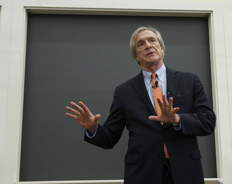 Carl P. Zeithaml, dean of the McIntire School of Commerce at the University of Virginia and recently named the university's interim president, answers questions at a news conference on Wednesday, June 20, 2012, in Charlottesville, Va. (AP Photo/The Daily Progress, Sabrina Schaeffer)
