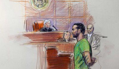 An artist rendering shows Amine El Khalifi before U.S. District Judge T. Rawles Jones Jr. in federal court in Alexandria, Va., on Feb. 17, 2012. (Associated Press)