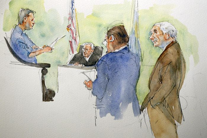In this courtroom sketch, Judge John Cleland, second from left, defendant former Penn State assistant football coach Jerry Sandusky, right, and his lawyer Karl Rominger, second from right, listen at the verdict in Sandusky's child sexual abuse trial is read by the jury foreman at the Centre County Courthouse in Bellefonte, Pa., Friday, June 22, 2012. Sandusky was found guilty of 45 charges of child sexual abuse involving 10 boys over a period of 15 years. (AP Photo/Aggie Kenny)