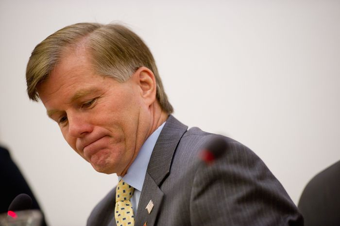 """Virginia Republican Gov. Bob McDonnell is trying to rebound after a week of setbacks reflecting on his leadership. """"It's a brutal situation for him. It's brutal,"""" says Paul Goldman, who served as an adviser to Govs. L. Douglas Wilder and Mark R. Warner. """"The governorship is a position of leadership."""" (Andrew Harnik/The Washington Times)"""
