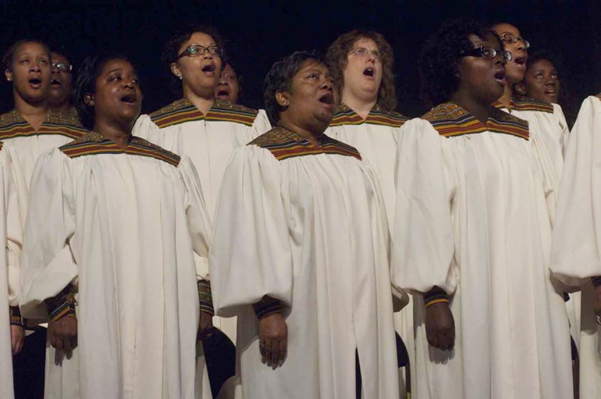 The St. Augustine parish choir performs during the Fortnight for Freedom at George Washington University in Washington, D.C. (Raymond Thompson/The Washington Times)