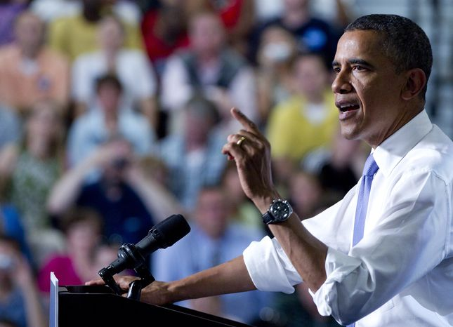 President Obama speaks on Monday, June 25, 2012, at Oyster River High School in Durham, N.H. (Associated Press)