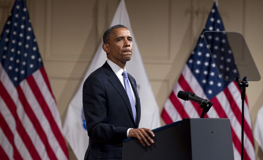 President Obama speaks June 25, 2012, during a campaign event at Symphony Hall in Boston. (Associated Press)