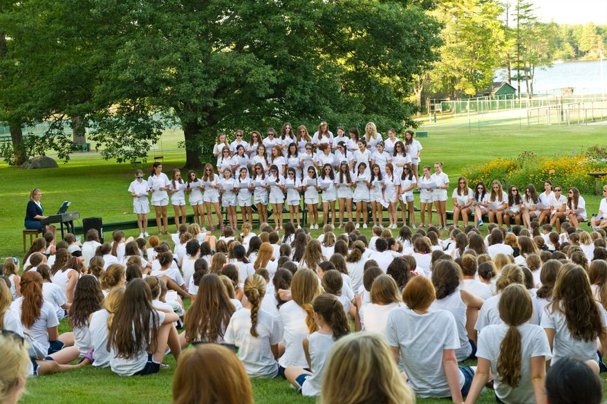 ** FILE ** This undated image released by Tripp Lake Camp shows girls wearing all white at Tripp Lake Camp in Armonk, N.Y. (Associated Press/Tripp Lake Camp)