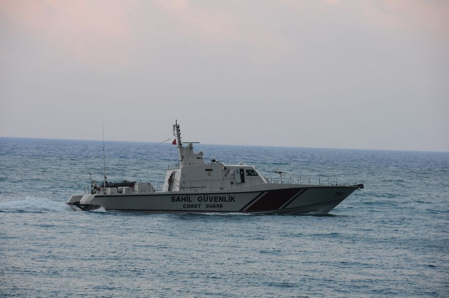 A Turkish coast guard ship searches the eastern Mediterranean Sea on Sunday, June 24, 2012, for the Turkish warplane that was downed by Syria on Friday. (AP Photo)