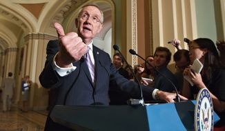 ** FILE ** Senate Majority Leader Harry Reid of Nevada speaks on Capitol Hill on Tuesday, June 26, 2012, after the Democrats' weekly strategy session. (Associated Press)