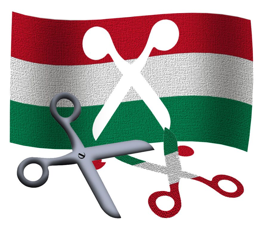 Illustration Hungary Cuts by Alexander Hunter for The Washington Times