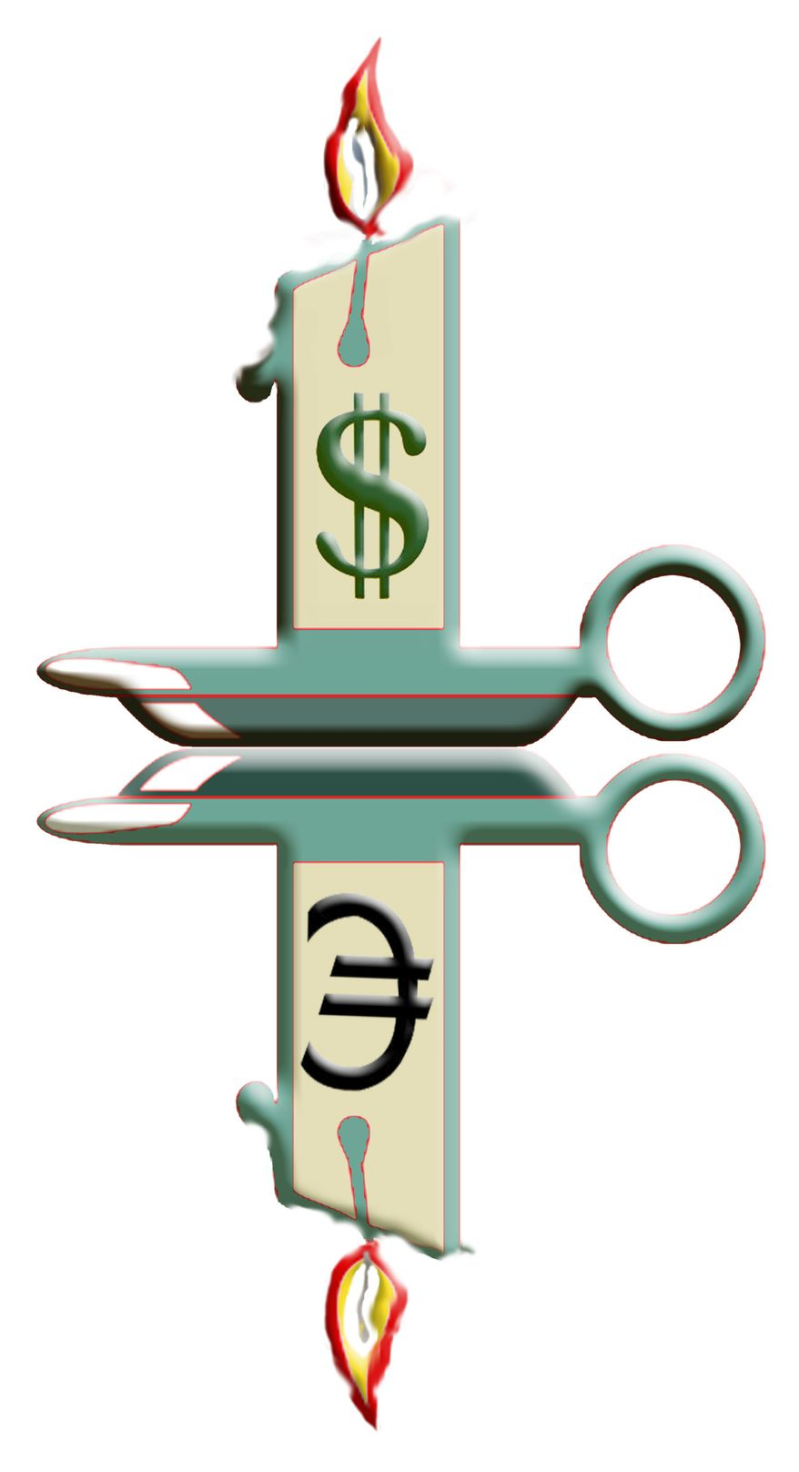 Illustration Dollar, EU Candles by John Camejo for The Washington Times