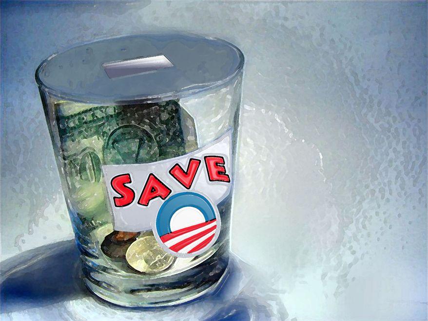 Illustration Obama Donation Jar by John Camejo for The Washington Times