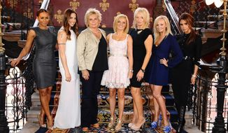 Scriptwriter Jennifer Saunders (third from left) and producer Judy Craymer (third from right) pose with the Spice Girls' (from left) Melanie Brown, Melanie Chisholm, Geri Halliwell, Emma Bunton and Victoria Beckham during a photo call at a central London hotel on June 26, 2012, to launch Viva Forever, a musical featuring songs from the Spice Girls, which will open in December 2012. (Associated Press/PA, Ian West)