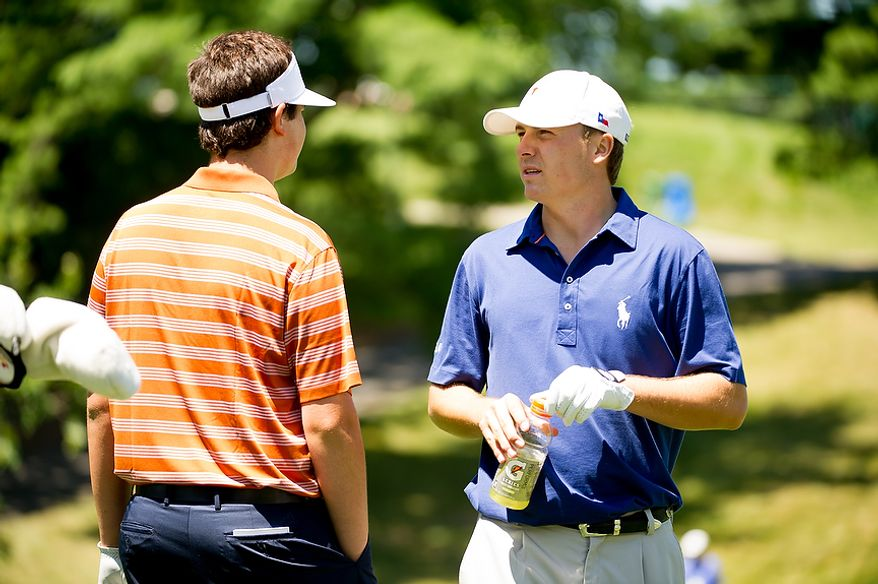 Beau Hossler, left, talks with Jordan Spieth, right, as they tee off on a practice round before the start of the AT&T National golf tournament held at Congressional Country Club, Bethesda, Md., Tuesday, June 26, 2012. The tournament will begin on Thursday and run until Sunday. (Andrew Harnik/The Washington Times)