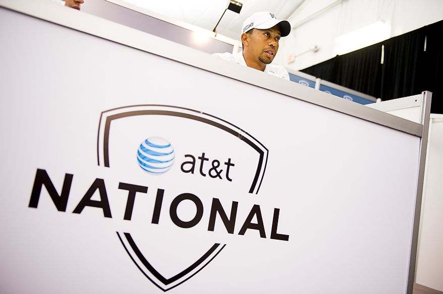 Tiger Woods speaks at a press conference before the AT&T National golf tournament, set to begin on Thursday, and is held at Congressional Country Club, Bethesda, Md., Tuesday, June 26, 2012. (Andrew Harnik/The Washington Times)