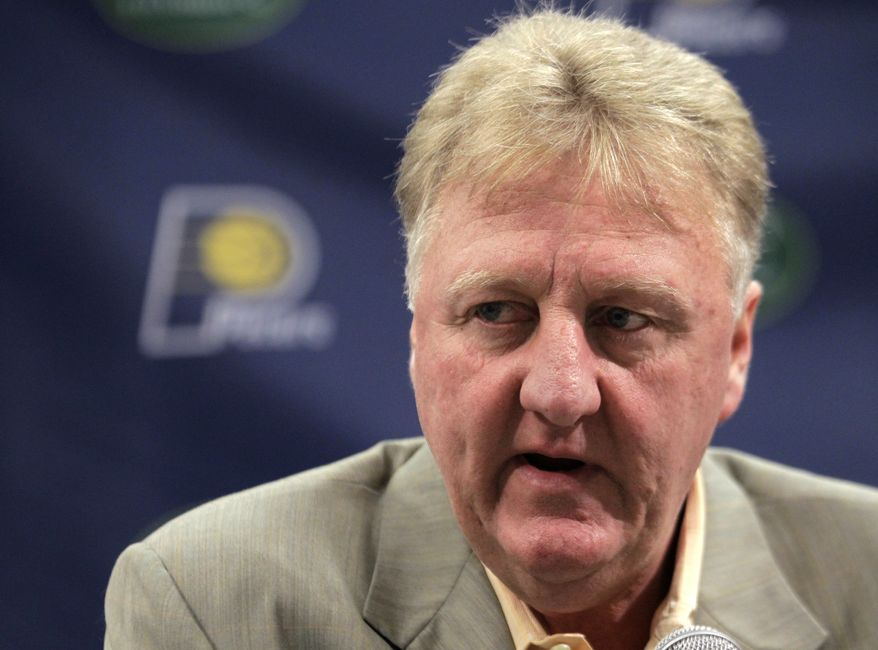 **FILE** Larry Bird, Indiana Pacers president of basketball operations, talks May 30, 2012, about the team's future during a news conference in Indianapolis. (Associated Press)