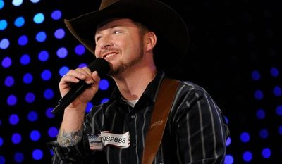 "Timothy Michael Poe performs on ""America's Got Talent."" The singing soldier won't be advancing. (Associated Press)"