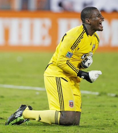 D.C. United goalkeeper Bill Hamid reacts at the end of an MLS soccer game against Portland Timbers, Wednesday, Oct. 19, 2011, in Washington. The game ended in a 1-1 tie. (AP Photo/Luis M. Alvarez)